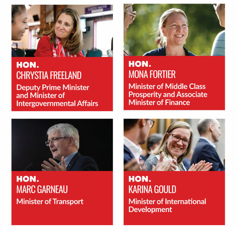Hon. Chrystia Freeland, Deputy Prime Minister and Minister of Intergovernmental Affairs. Hon. Mona Fortier, Minister of Middle Class Prosperity and Associate Minister of Finance. Hon. Marc Garneau, Minister of Transport. Hon. Karina Gould, Minister of International Development.