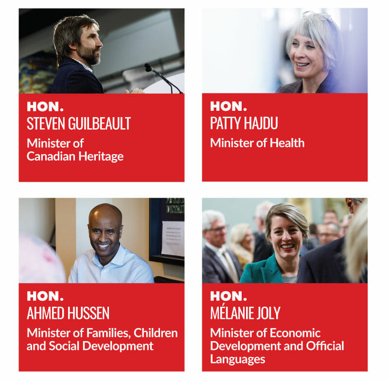 Hon. Steven Guilbeault, Minister of Canadian Heritage. Hon. Patty Hajdu, Minister of Health. Hon. Ahmed Hussen, Minister of Families, Children and Social Development. Hon. Melanie Joly, Minister of Economic Development and Offical Languages.