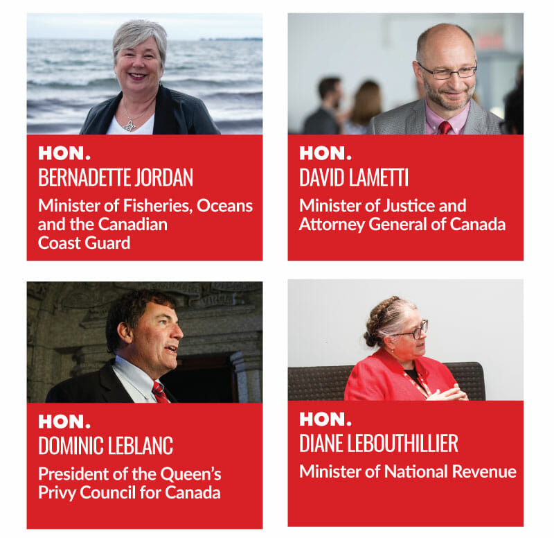 Hon. Bernadette Jordan, Minister of Fisheries, Oceans and the Canadian Coast Guard. Hon. David Lametti, Minister of Justice and Attorney General of Canada. Hon. Dominic LeBlanc, President of the Queens Privy Council for Canada. Hon. Diane Lebouthillier, Minister of National Revenue.