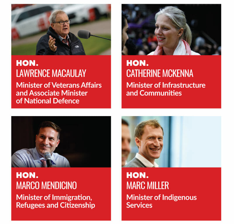 Hon. Lawrence MacAulay, Minister of Veterans Affairs and Associate Minister of National Defence. Hon. Catherine McKenna, Minister of Infrastructure and Communities. Hon. Marco Mendicino, Minister of Immigration, Refugees and Citizenship. Hon. Marc Miller, Minister of Indigenous Services.