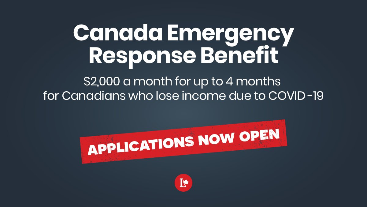Canada Emergency Response Benefit. $2,000 a month for up to 4 months for Canadians who lose income due to COVID-19. Applications now open.