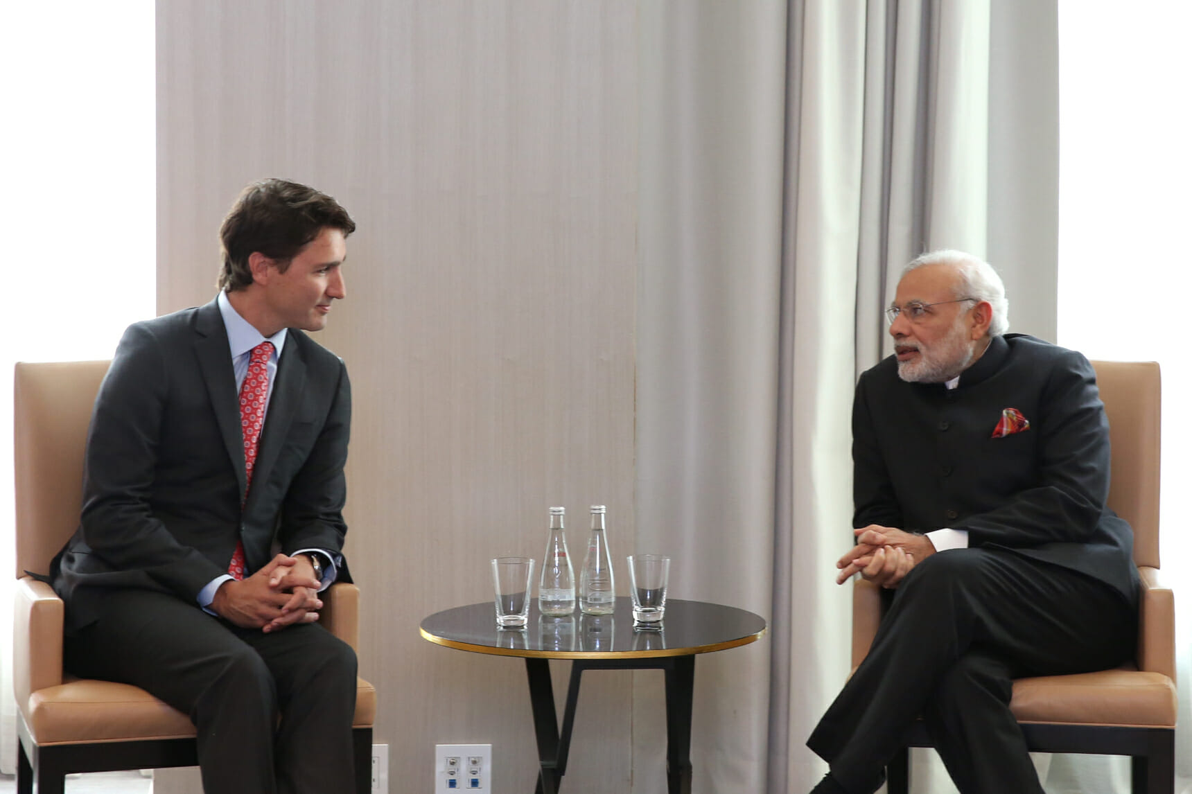 Indian Prime Minister Narendra Modi meets with Justin Trudeau