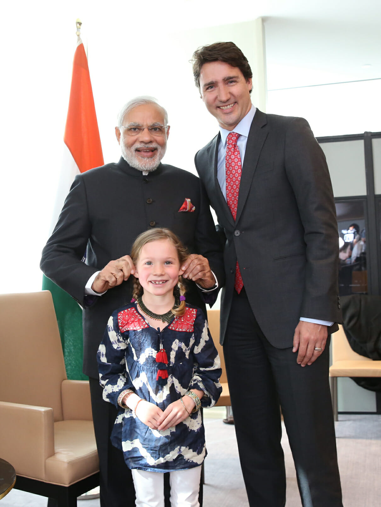 Indian Prime Minister Narendra Modi meets with Justin Trudeau and his daughter Ella-Grace