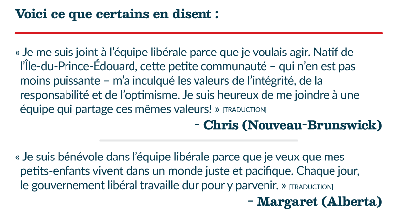 Voici ce que certains en disent : « Je me suis joint à l'équipe libérale parce que je voulais agir. Natif de l'Île-du-Prince-Édouard, cette petite communauté – qui n'en est pas moins puissante – m'a inculqué les valeurs de l'intégrité, de la responsabilité et de l'optimisme. Je suis heureux de me joindre à une équipe qui partage ces mêmes valeurs! » [TRADUCTION] – Chris (Nouveau-Brunswick) « Je suis bénévole dans l'équipe libérale parce que je veux que mes petits-enfants vivent dans un monde juste et pacifique. Chaque jour, le gouvernement libéral travaille dur pour y parvenir. » [TRADUCTION] – Margaret (Alberta)